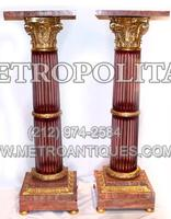Pair%20Red%20Crystal%20and%20Dore%20Bronze%20Pedestals%20Marble%20Tops%2E
